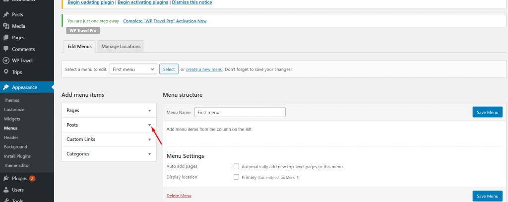 navigation menu in WordPress