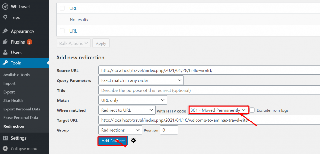 Redirect a URL in WordPress