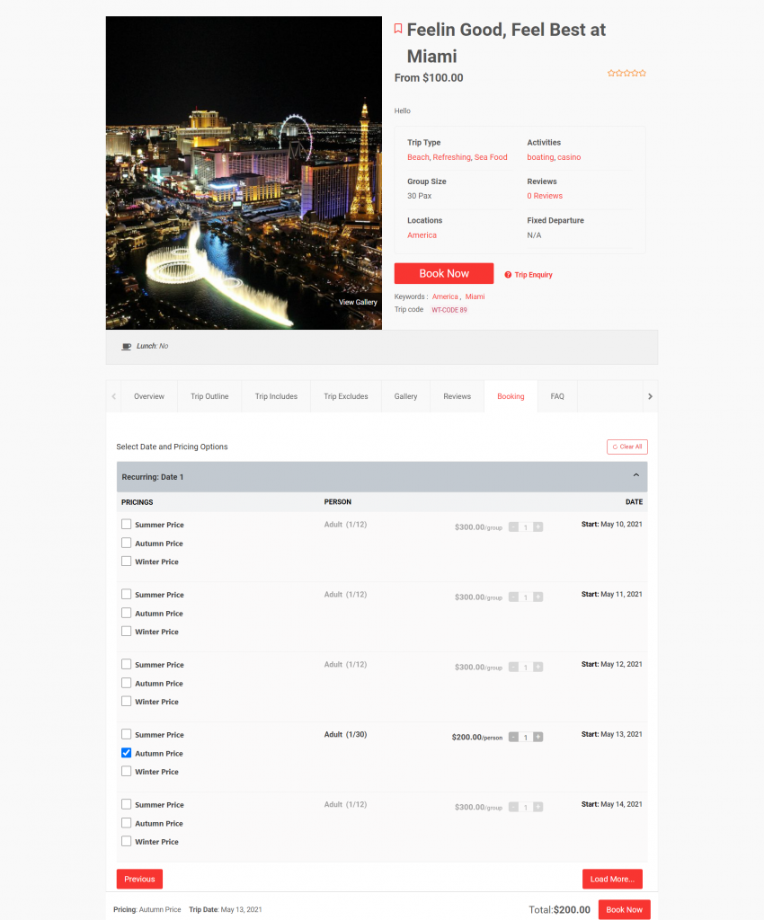 Date Listing Feature